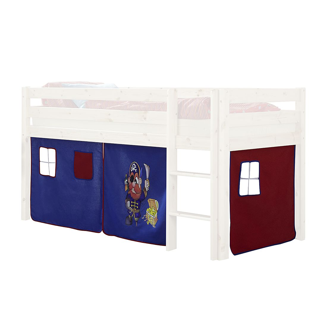 Gordijn Merlin - blauw piratenmotief/rood, Kids Club Collection