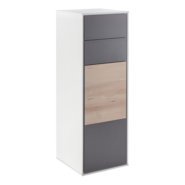 Armoire midi Bodo II - Imitation hêtre / Basalte / Blanc mat, Schildmeyer