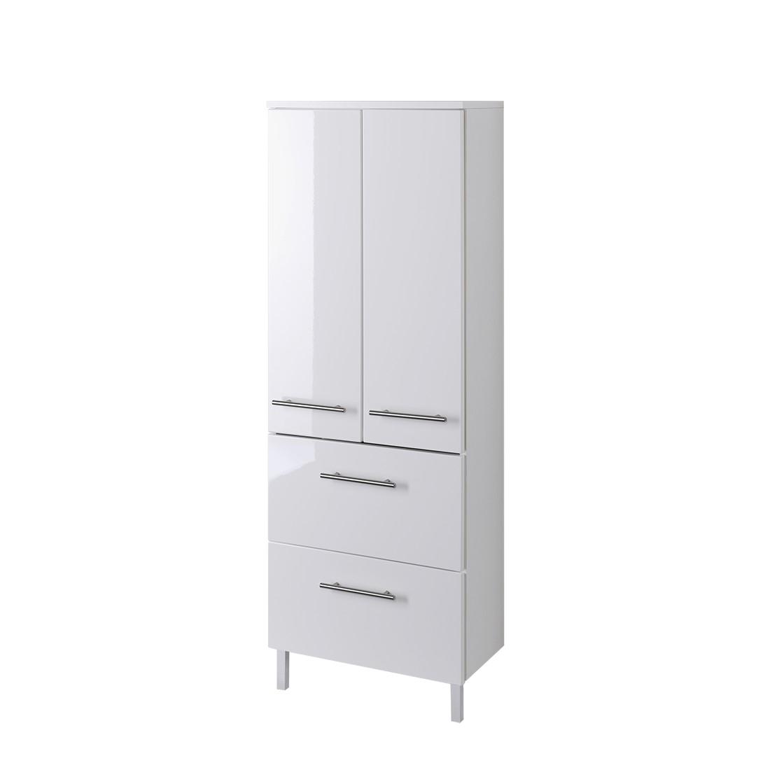 Armadietto da bagno kopenhagen - bianco lucido/bianco - 50 cm, mooved ...