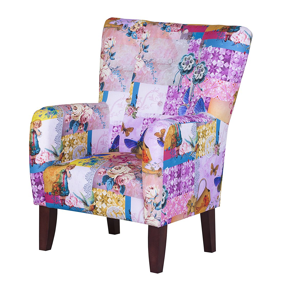 Home 24 - Fauteuil karla - tissu - violet, jack and alice