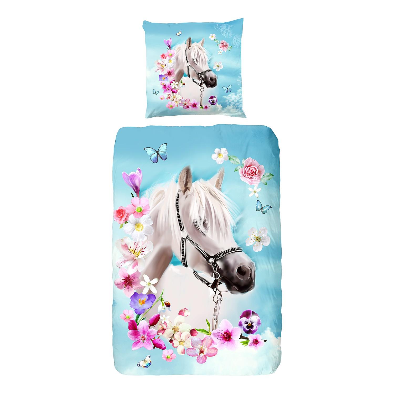 Jersey beddengoed My beauty - katoen - lichtblauw/meerdere kleuren - 140x200/220cm + kussen 70x60cm, Good morning