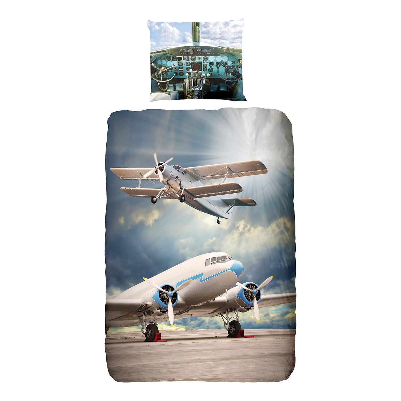 Jersey-Bettwäsche Airplanes - Baumwollstoff - M...