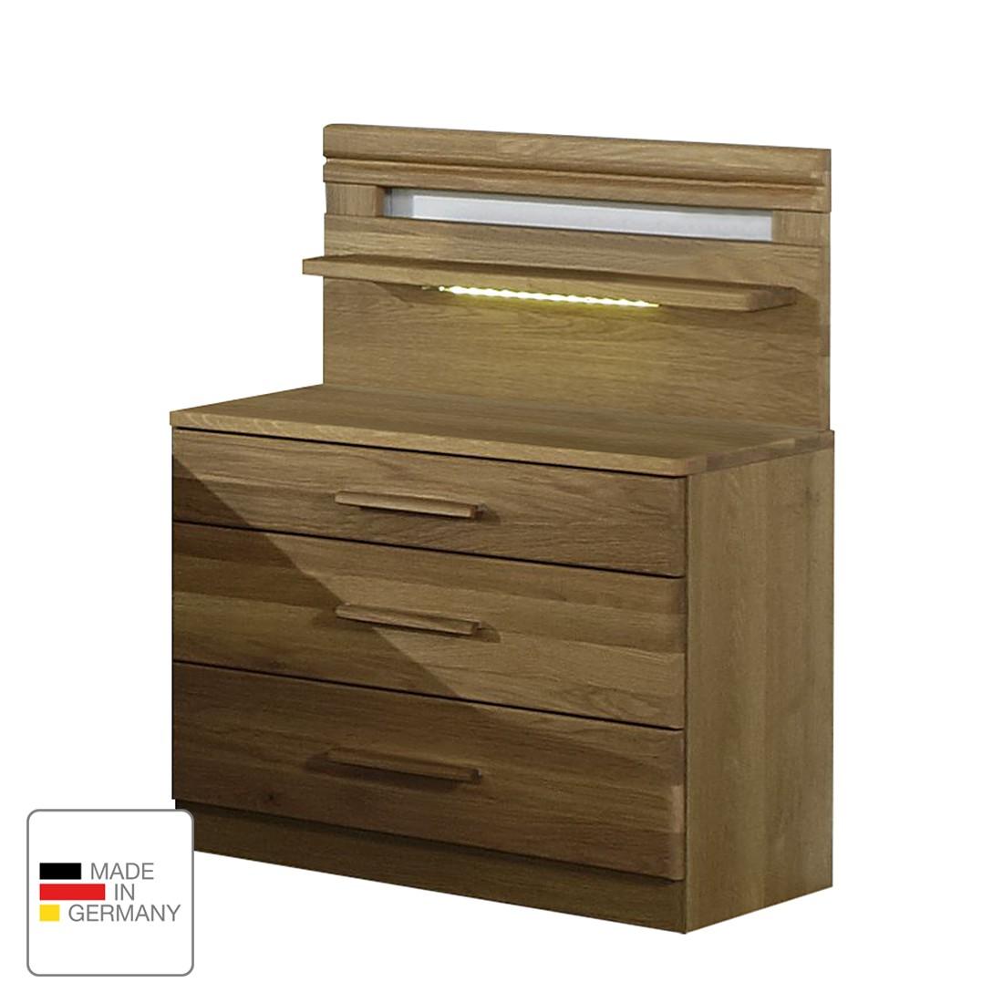 energia A+, Comodino Münster - Parzialmente in legno massello di quercia - Larghezza: 60 cm - Con pa