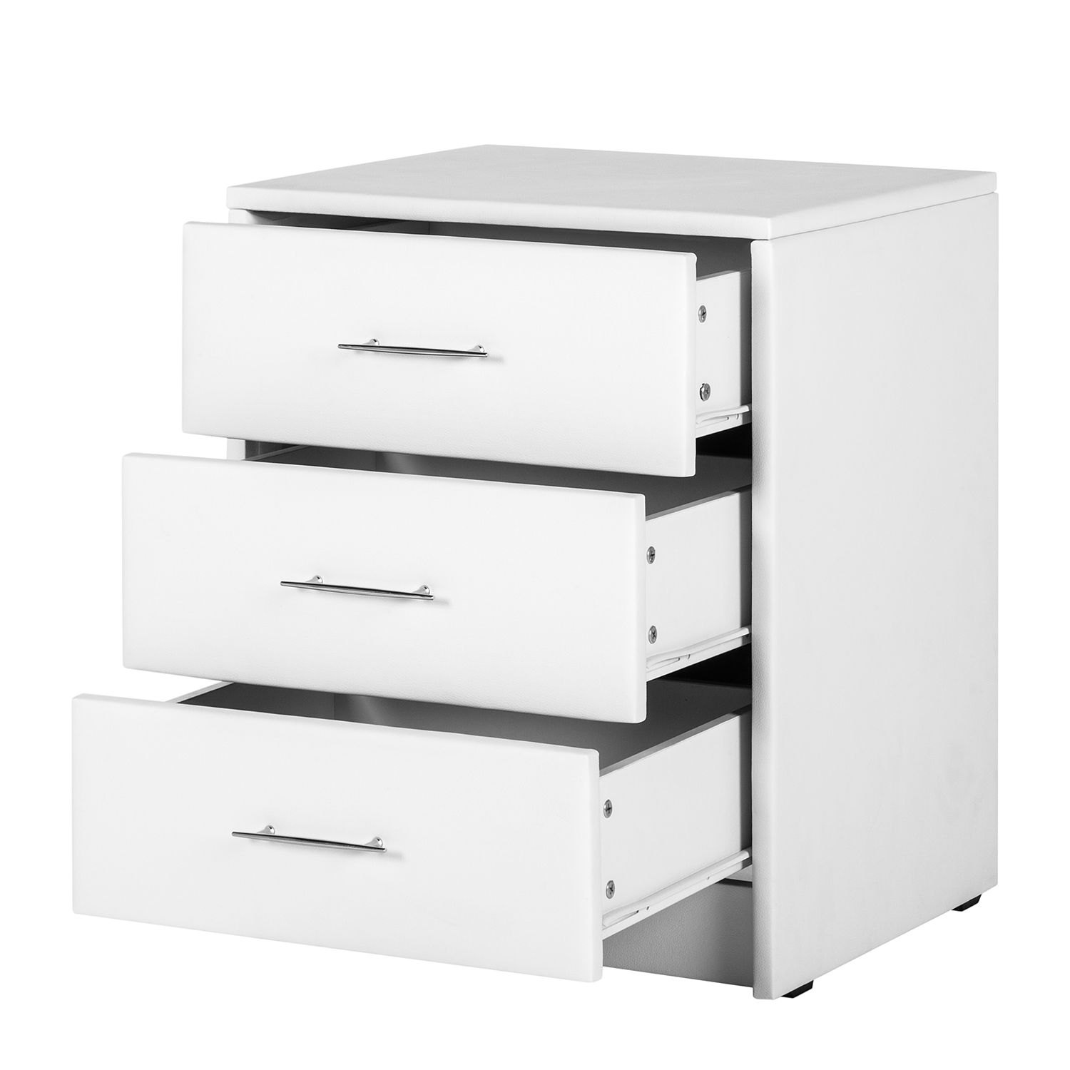 Home 24 - Table de nuit turner ii - cuir synthétique blanc, fredriks