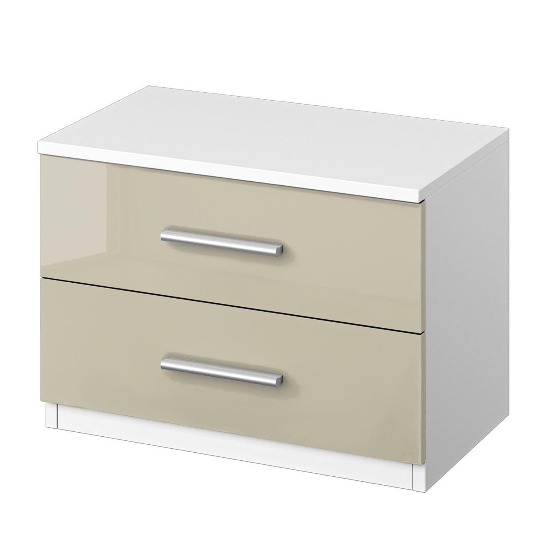 Home 24 - Table de chevet celle - blanc alpin / gris sable brillant, rauch packs