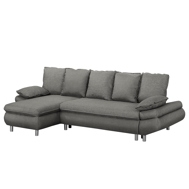 Canapé d'angle Sibson (amovible / montable des deux côtés) Tissage à plat - Gris, roomscape
