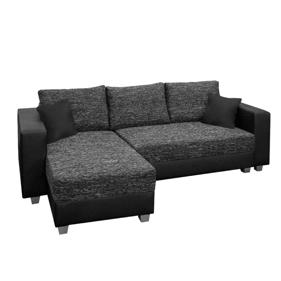 Canapé d'angle Dublin II (convertible) - Imitation cuir / Tissu structuré - Méridienne à monter à ga