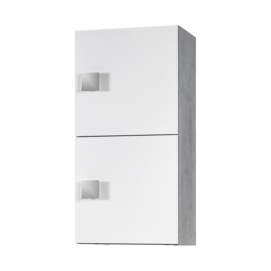 Bovenkast Genf   wit glanzend steengrijs 2 deurs_ Schildmeyer