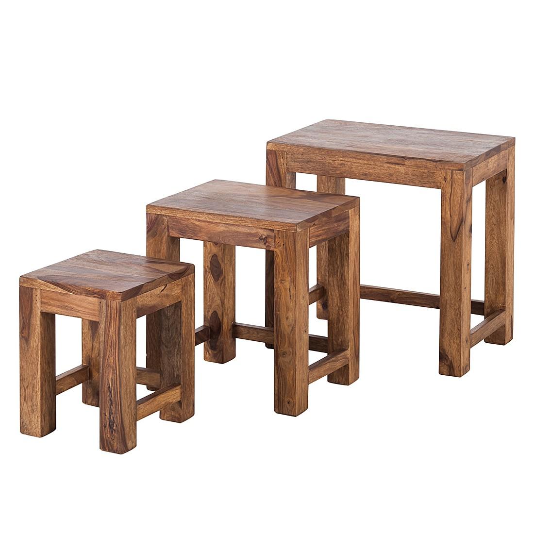 Tavolino Ohio (set da 3) - Legno massello di Sheesham Cerato, Ars Natura