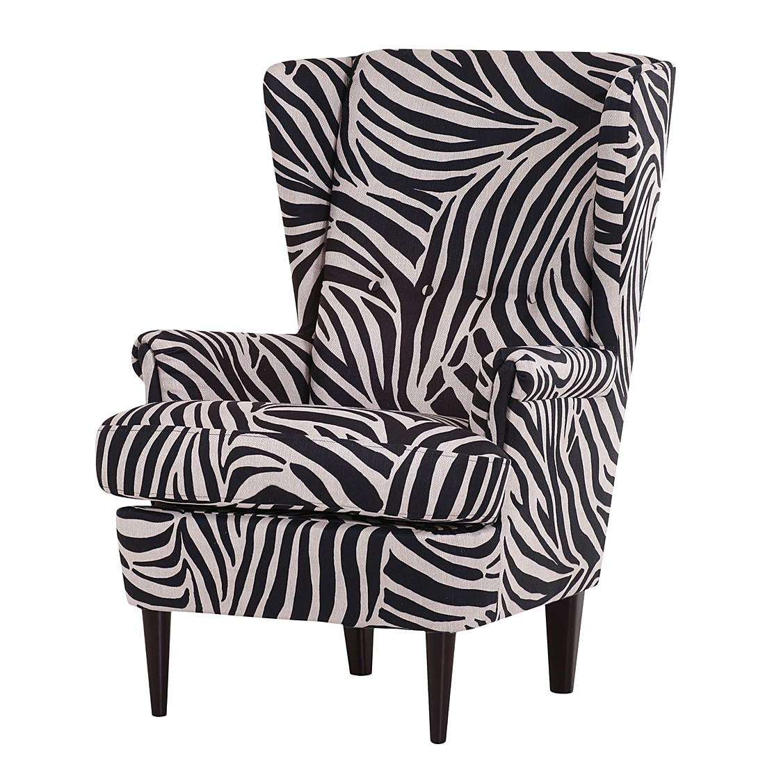 Oorfauteuil Chaville - geweven stof met zebra motief, Morteens