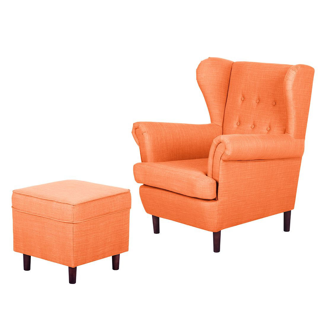 Ohrensessel Kaiapoi (mit Hocker) Webstoff - Orange, Jack and Alice