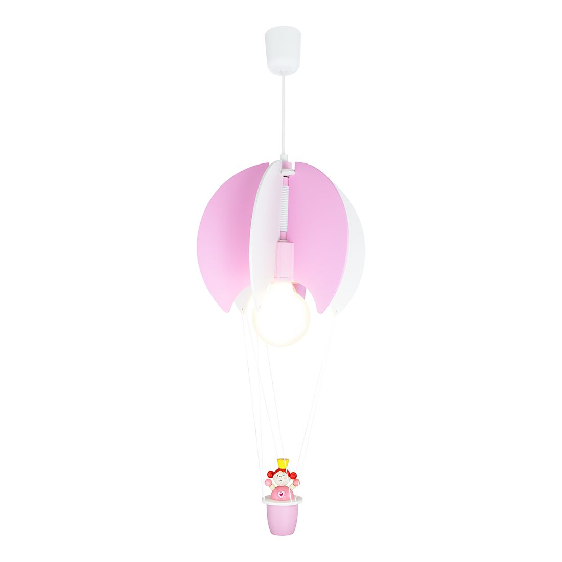 Home 24 - Eek a++, suspension ballon et princesse - bois 1 ampoule, elobra
