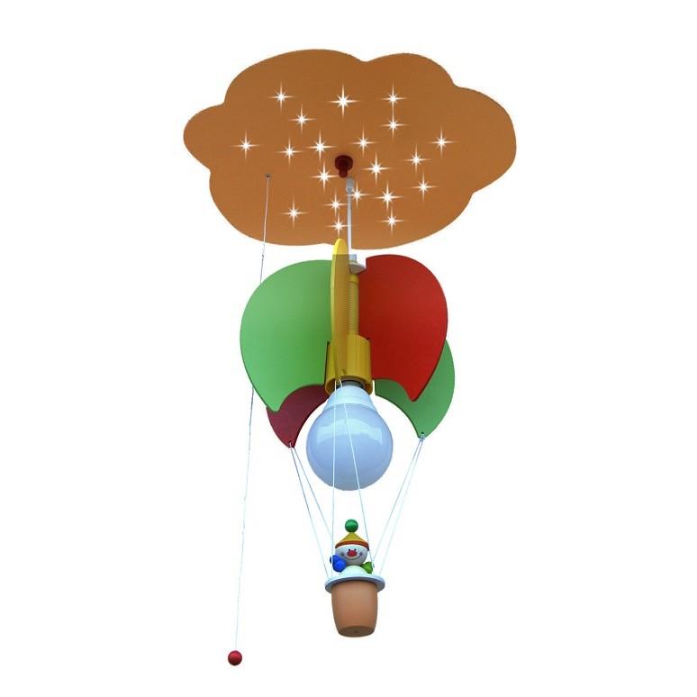 energie  A+_ Pendelleuchte Ballonwolk met Kasper 1 20   hout 1 lichtbron_ Elobra