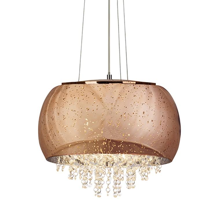 energie  A++, Hanglamp Brilliance - glas/metaal - 5 lichtbronnen - Koperkleurig, Brilliant