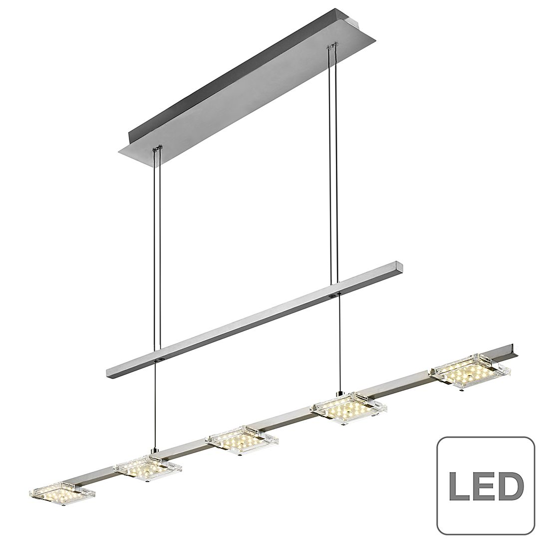 EEK A+, LED-Pendelleuchte Daan - Chrom/ Glas - Silber, Paul Neuhaus