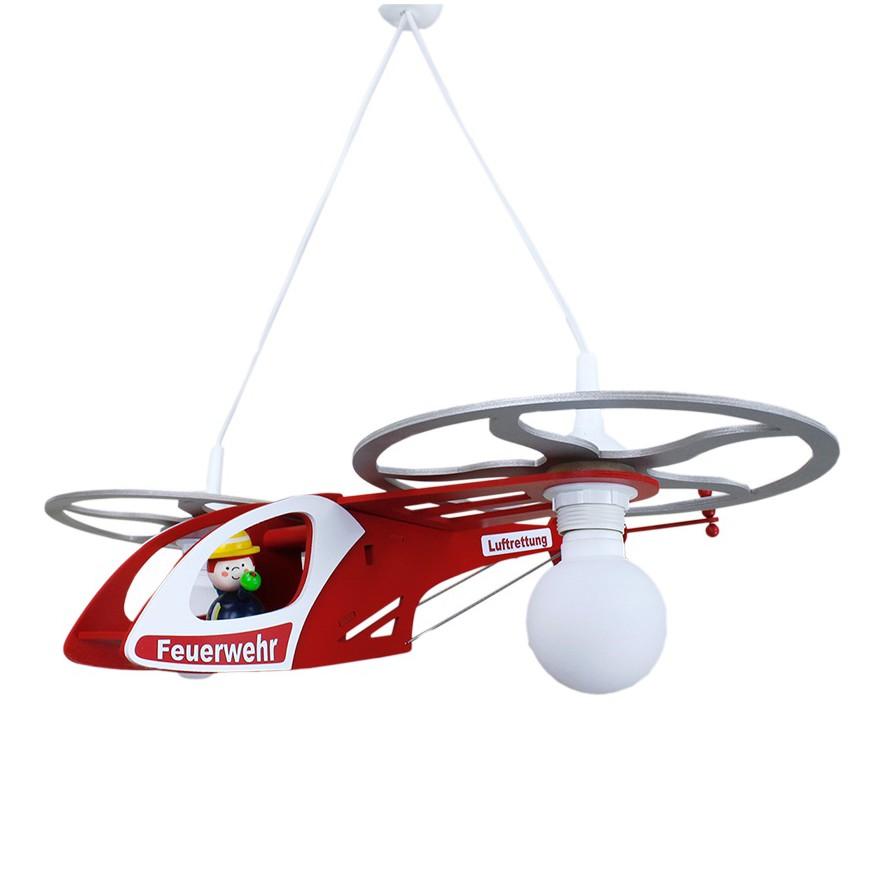 Home 24 - Eek a++, suspension hélicoptère de pompiers - bois 2 ampoules, elobra