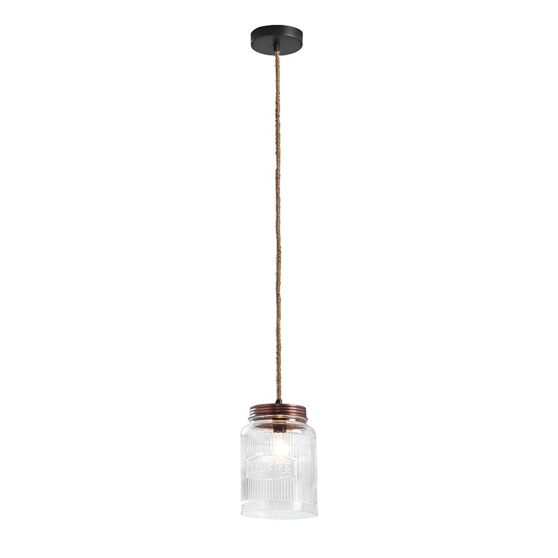 energie  A++, Hanglamp Finn - transparant metaal 1 lichtbron, Red Living