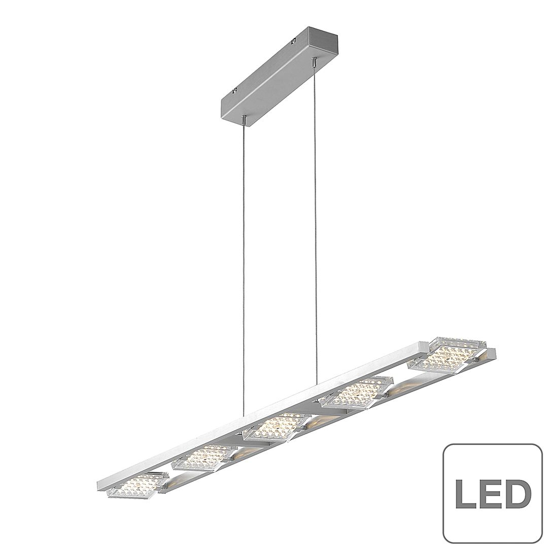 EEK A+, LED-Pendelleuchte Futura - Metall/ Glas - Silber, Paul Neuhaus