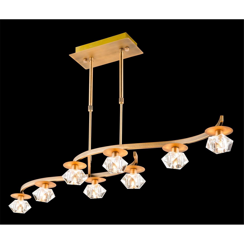 energie  A++, Hanglamp Oberon - ijzer goudkleurig 8 lichtbronnen, Paul Neuhaus