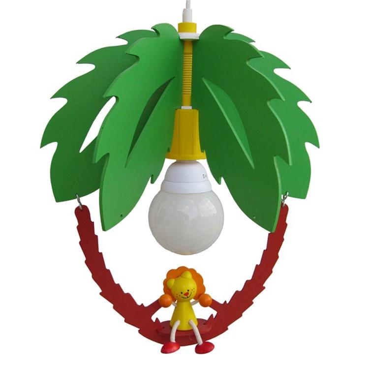 energie  A++_ Hanglamp Palmboom en leeuw   hout 1 lichtbron_ Elobra