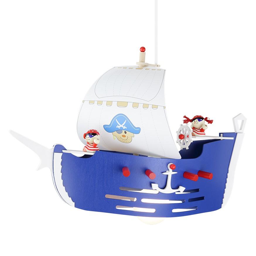 energie  A++_ Hanglamp Piratenschip   hout 1 lichtbron_ Elobra