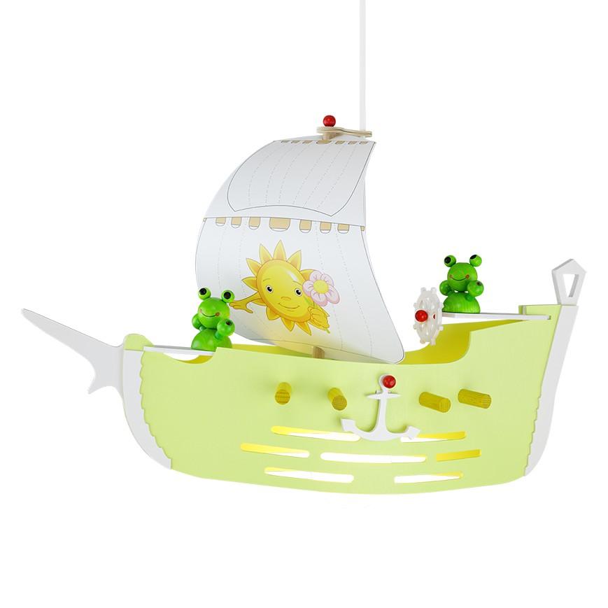 energie  A++_ Hanglamp Zeilschip   hout 1 lichtbron_ Elobra