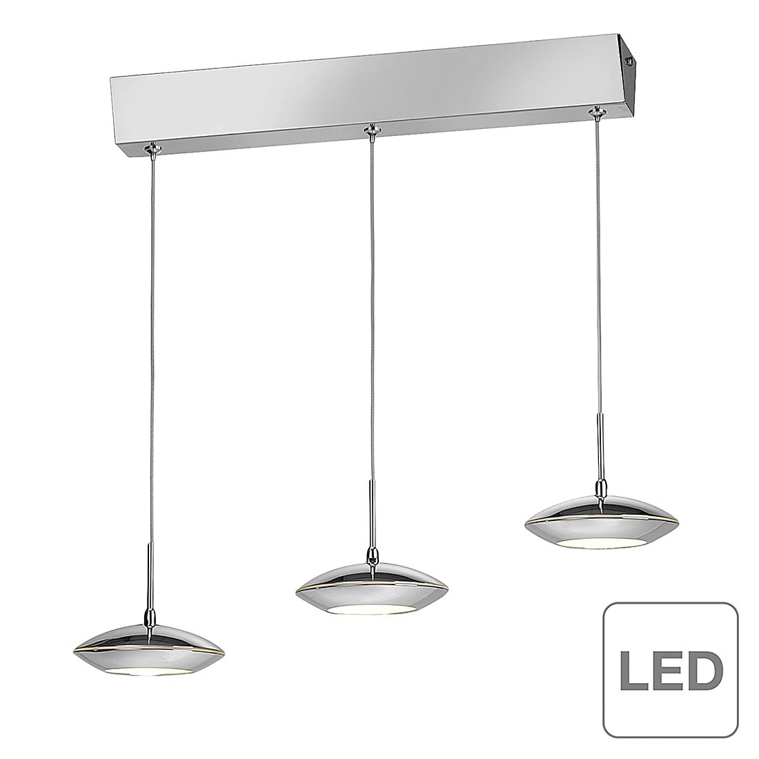 EEK A++, LED-Pendelleuchte Tebutt - Chrom/ Glas - Silber, Paul Neuhaus