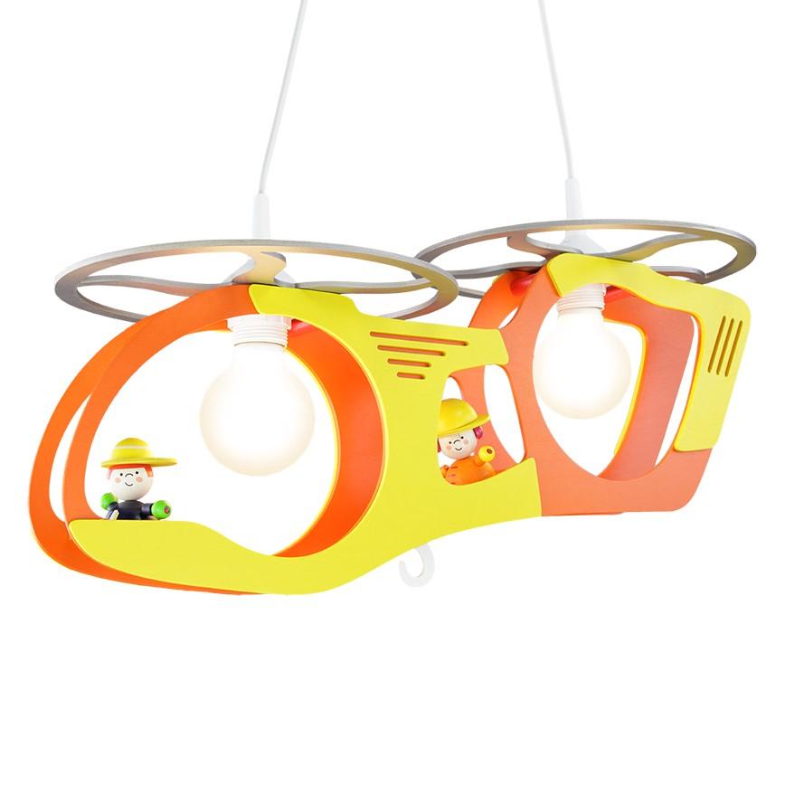 energie  A++, Hanglamp Transporthelicopter met Tom en Anton - hout 1 lichtbron, Elobra