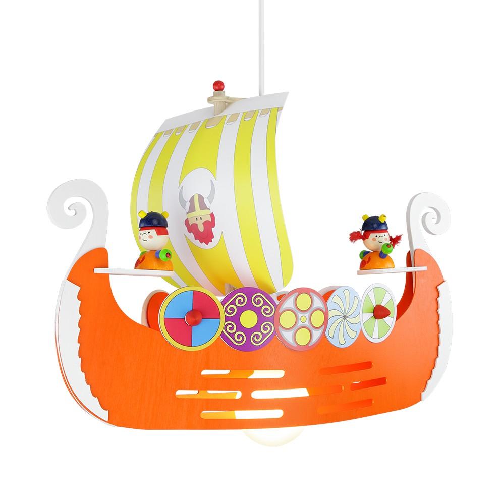Home 24 - Eek a++, suspension avec bateau viking - bois 1 ampoule, elobra