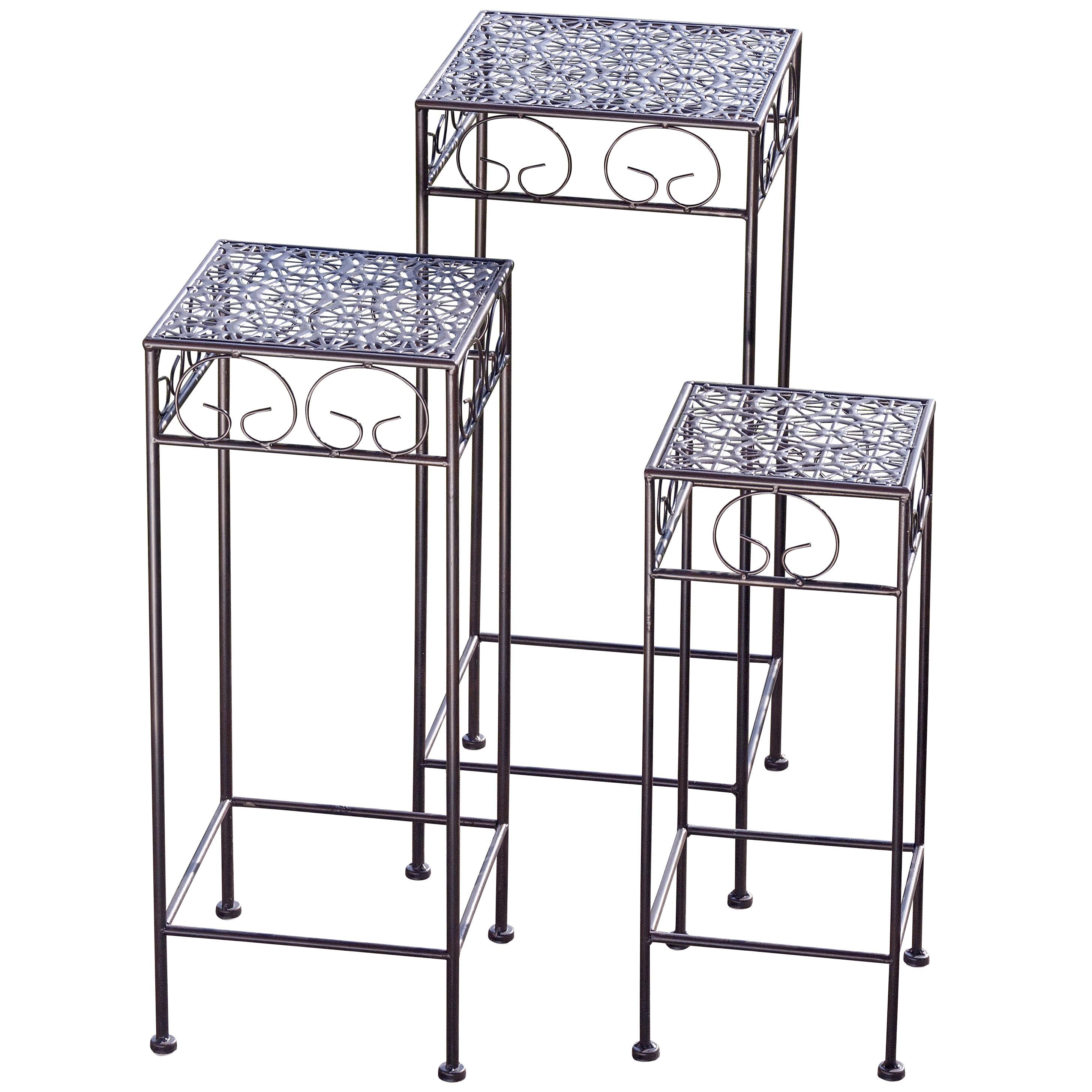 porte plantes ikara 3 l ments fer marron maison belfort meubles en ligne. Black Bedroom Furniture Sets. Home Design Ideas