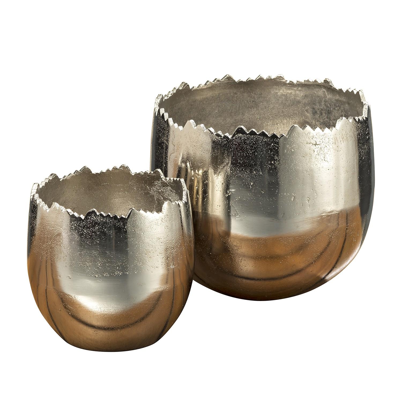 Plantenbakken Ibrim (2-delig) - aluminium - zilverkleurig, Jack and Alice