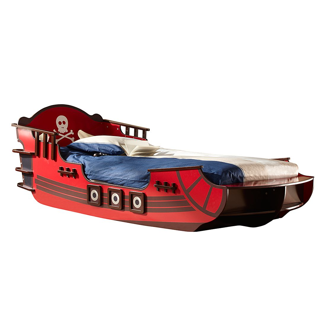 Home 24 - Lit pirate crazy shark - rouge / marron, kids club collection