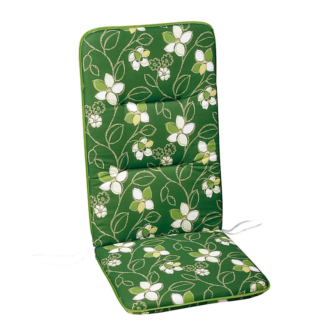 Polsterauflage Akelai - Floral gemustert - Grün - Hochlehner - 120 x 50 cm, Best Freizeitmöbel