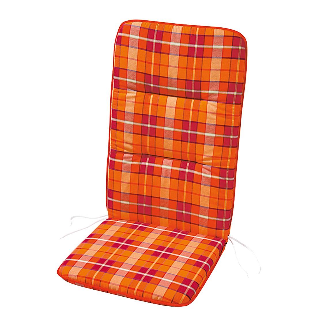 Stoelkussen Evelyn - geruit - rood/oranje - 100x50cm, Best Freizeitmöbel