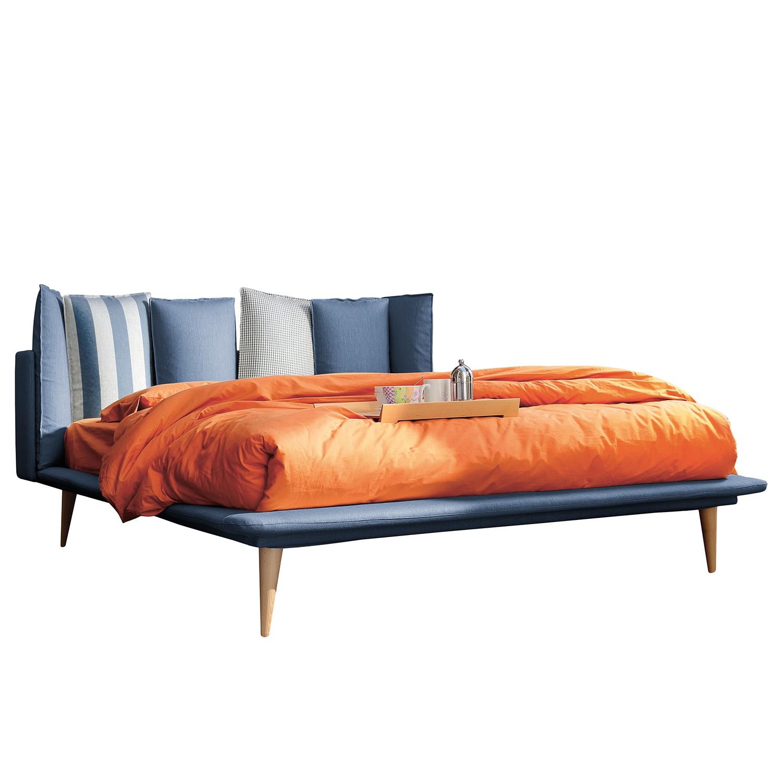 Polsterbett Brogan - Webstoff - 140 x 200cm - Meerblau