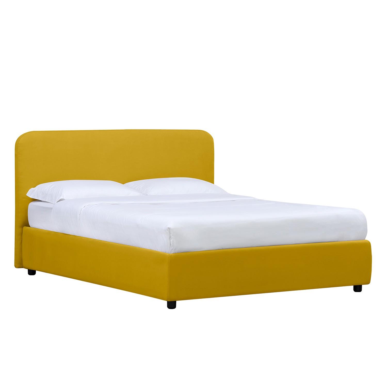 Home 24 - Lit rembourré chiara - 160 x 200cm - pas de coffre à literie - tissu valona jaune moutarde, studio copenhagen