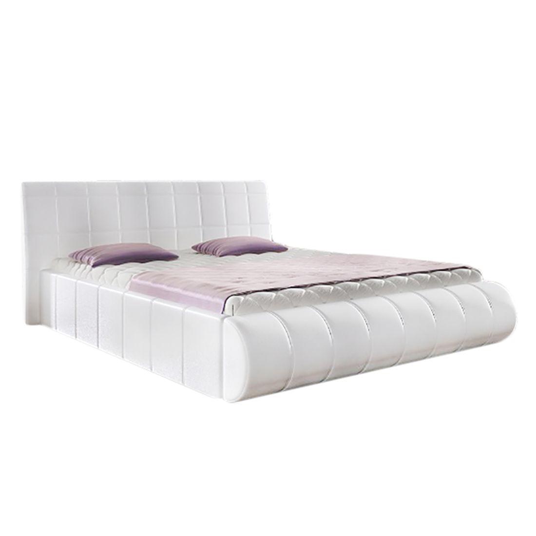 Lit capitonné Elisse (avec rangement sous lit) - Cuir synthétique Blanc - 140 x 200cm, roomscape