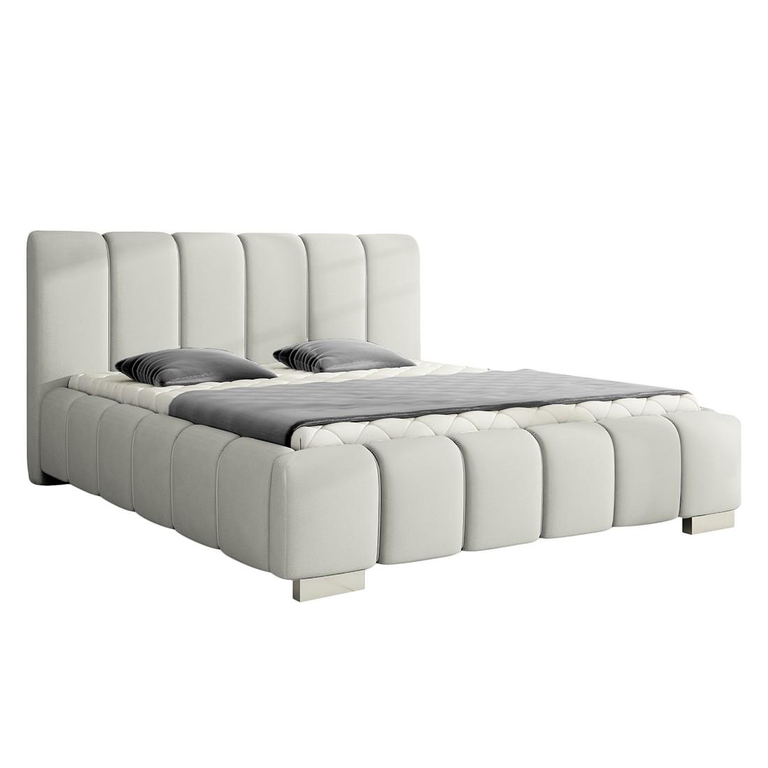 Lit capitonné Lounge - Tissu - 180 x 200cm - Gris, roomscape