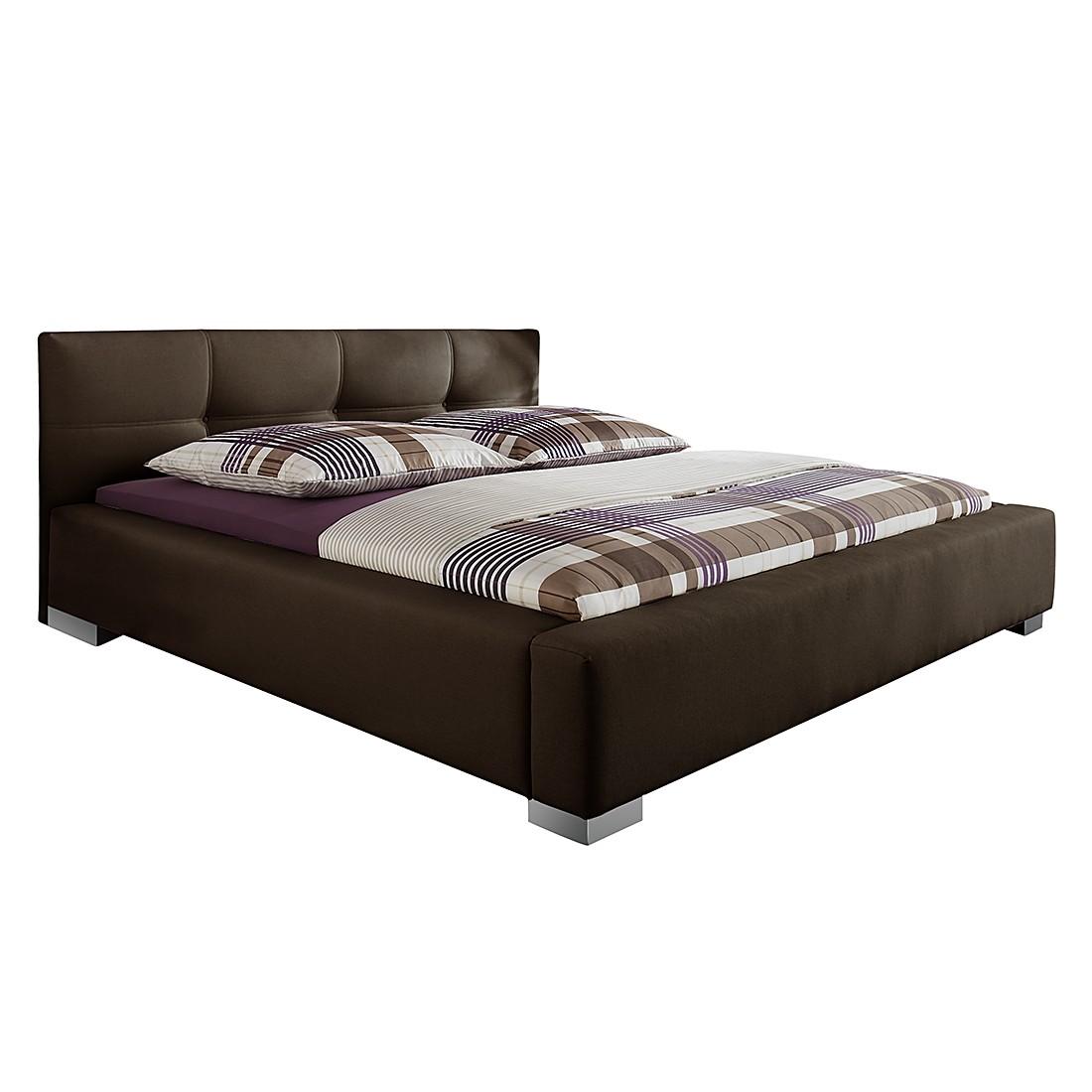 Lit capitonné Luca - 140 x 200cm - Structure de lit sans matelas et sommier - Marron, Monaco