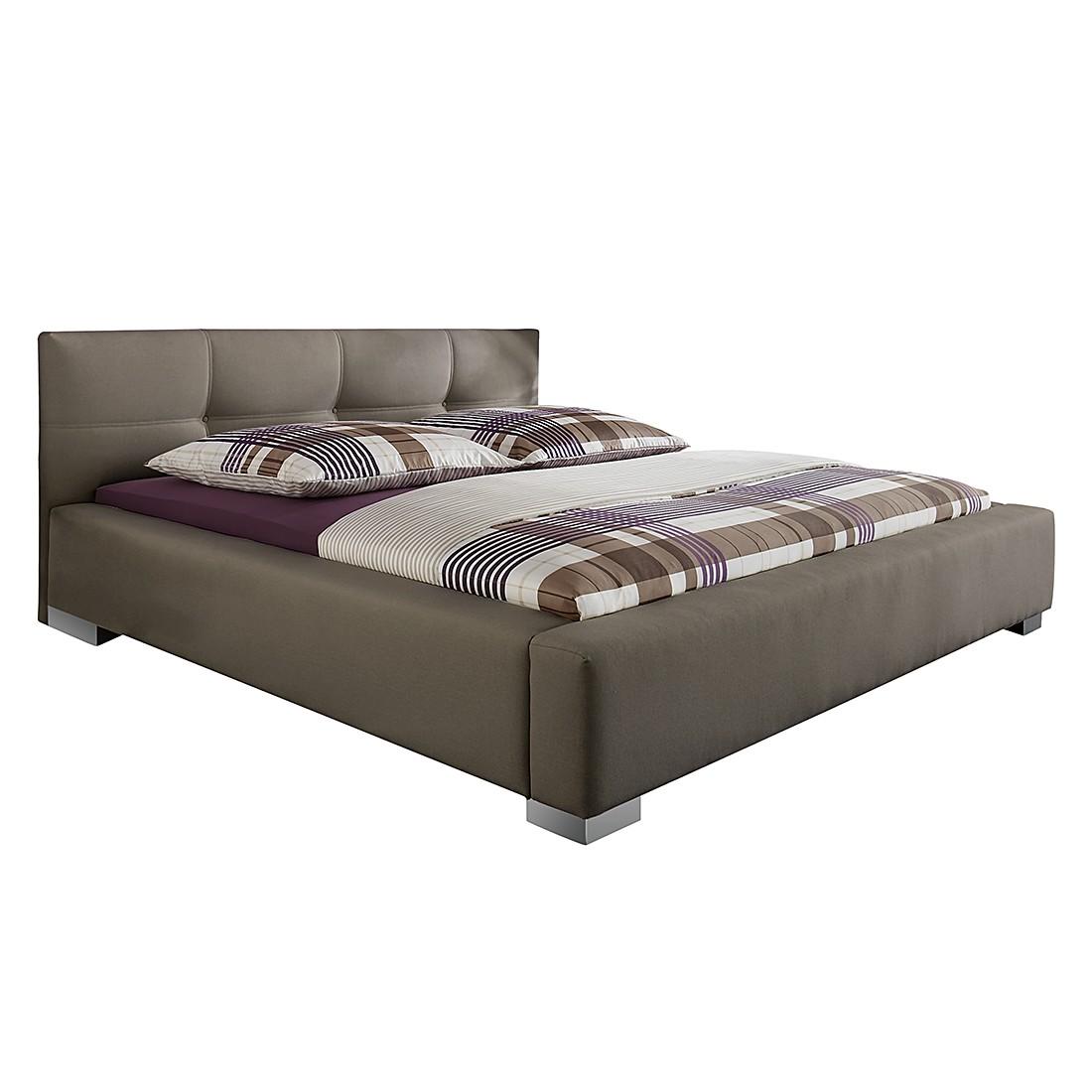 Gestoffeerd bed Luca - 140 x 200cm - Bedframe zonder matras & lattenbodem - Taupe, Monaco