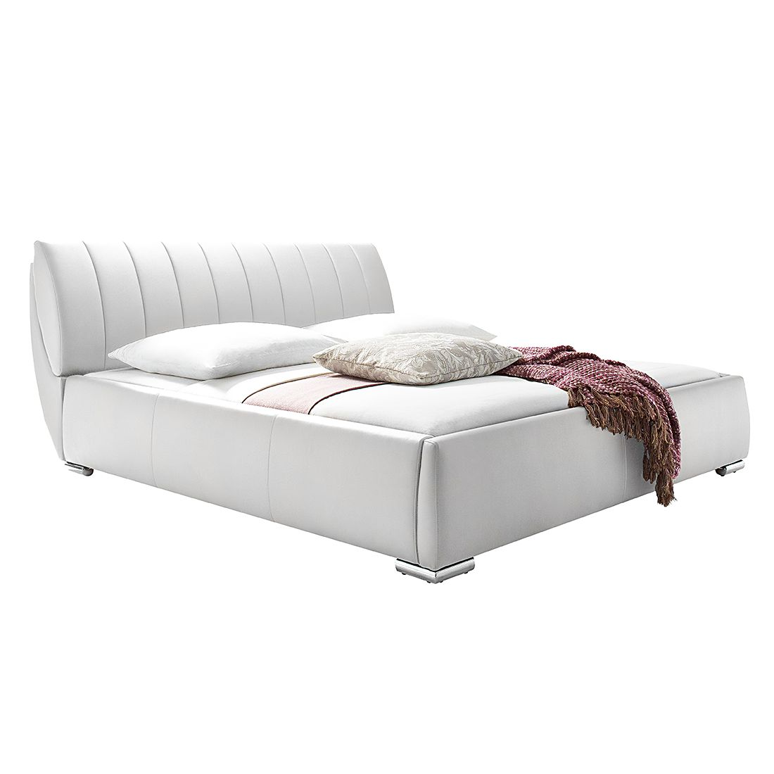 Gestoffeerd bed Luna - kunstleer - 180 x 200cm - Met matras - Wit, meise möbel