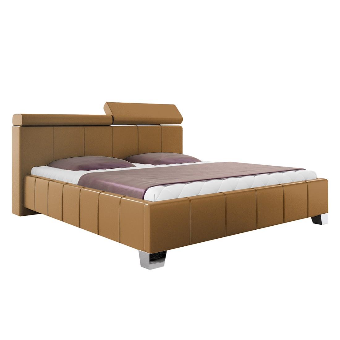 Gestoffeerd bed Madeira - kunstleer - 140 x 200cm - Geen bedlade - Bedframe zonder matras & lattenbodem - Bruin, roomscape