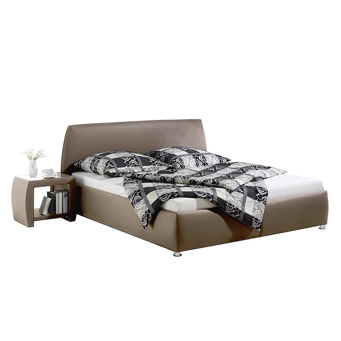 Gestoffeerd bed Mio - kunstleer - 100 x 200cm - Bonell-onderveringmatras incl. lattenbodem met 13 latten - Taupe, Monaco