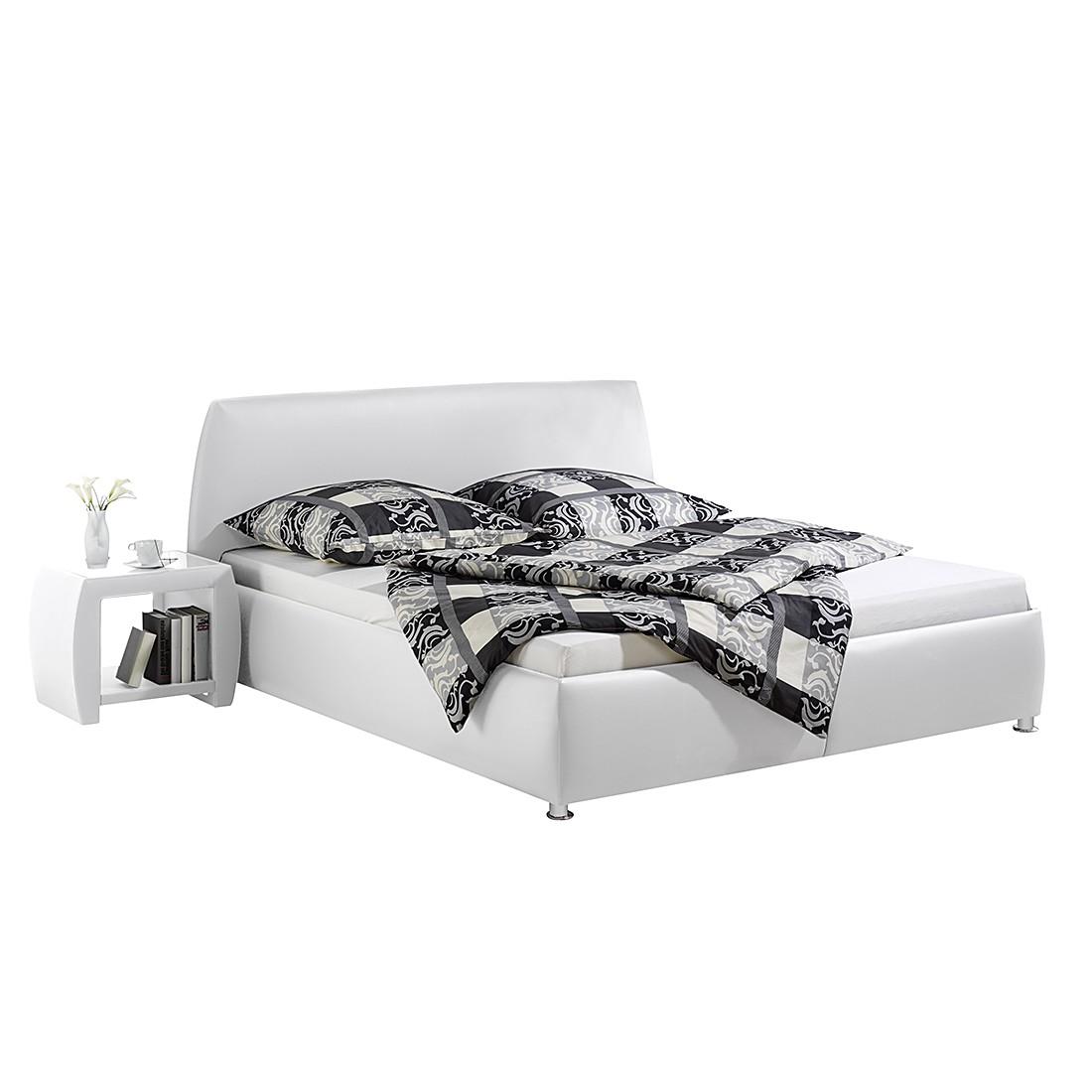 Gestoffeerd bed Mio - kunstleer - 100 x 200cm - Bedframe zonder matras & lattenbodem - Wit, Monaco