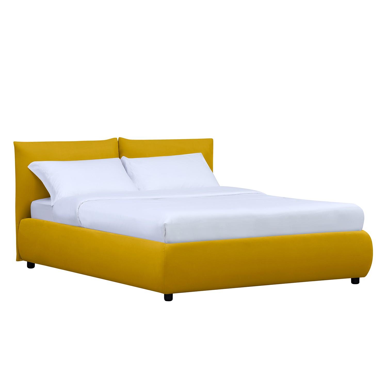 lit rembourr ponte avec coffre de lit 180 x 200cm tissu valona jaune moutarde studio. Black Bedroom Furniture Sets. Home Design Ideas