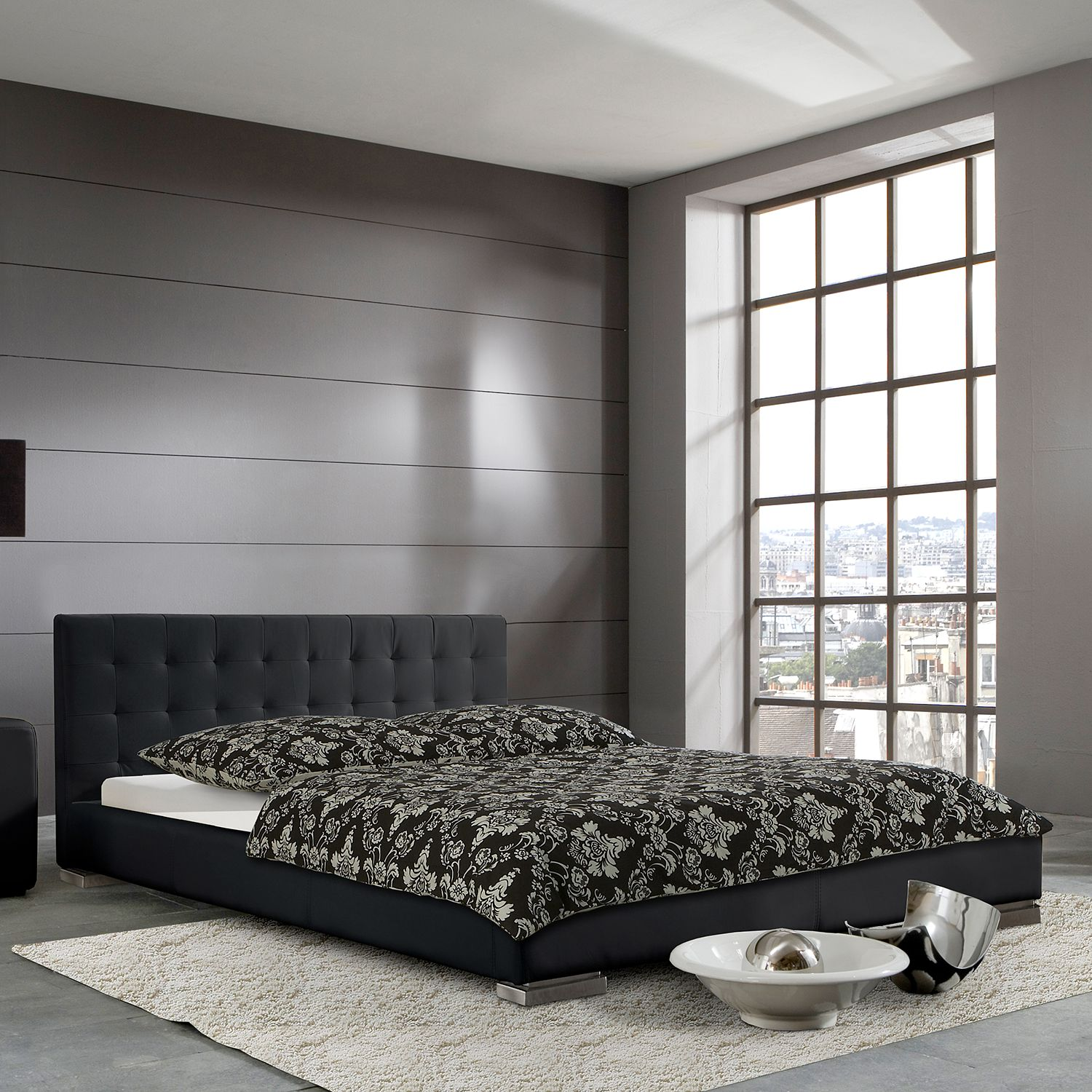 polsterbett sandra kunstleder 160 x 200cm schwarz. Black Bedroom Furniture Sets. Home Design Ideas