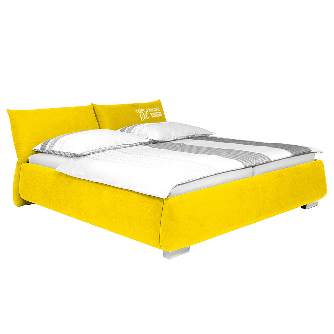 Gestoffeerd bed Soft Pillow - geweven stof - 180 x 200cm - Zonder matras - Zonder matras - Goudkleurig, Tom Tailor