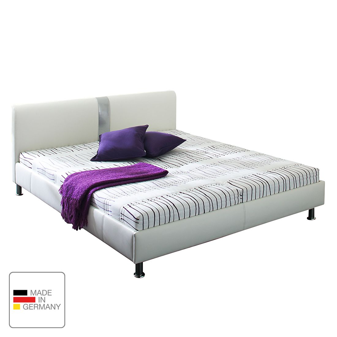 Lit capitonné Umea - Imitation cuir - 140 x 200cm - Sans matelas - Structure de lit sans sommier à l