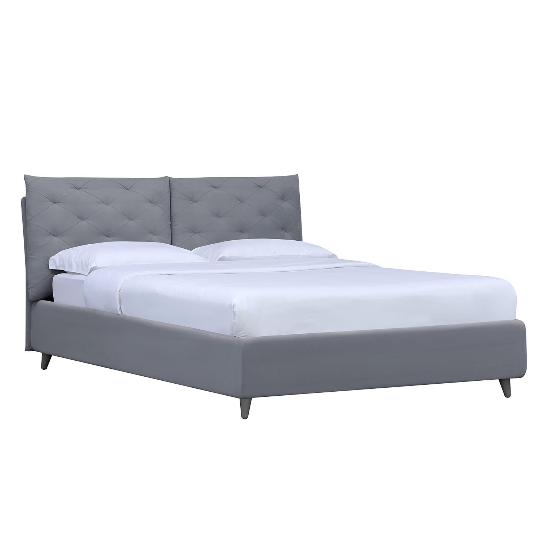 Polsterbett Versa II - 140 x 200cm - Kein Bettkasten - Grau - Stoff Valona Silber