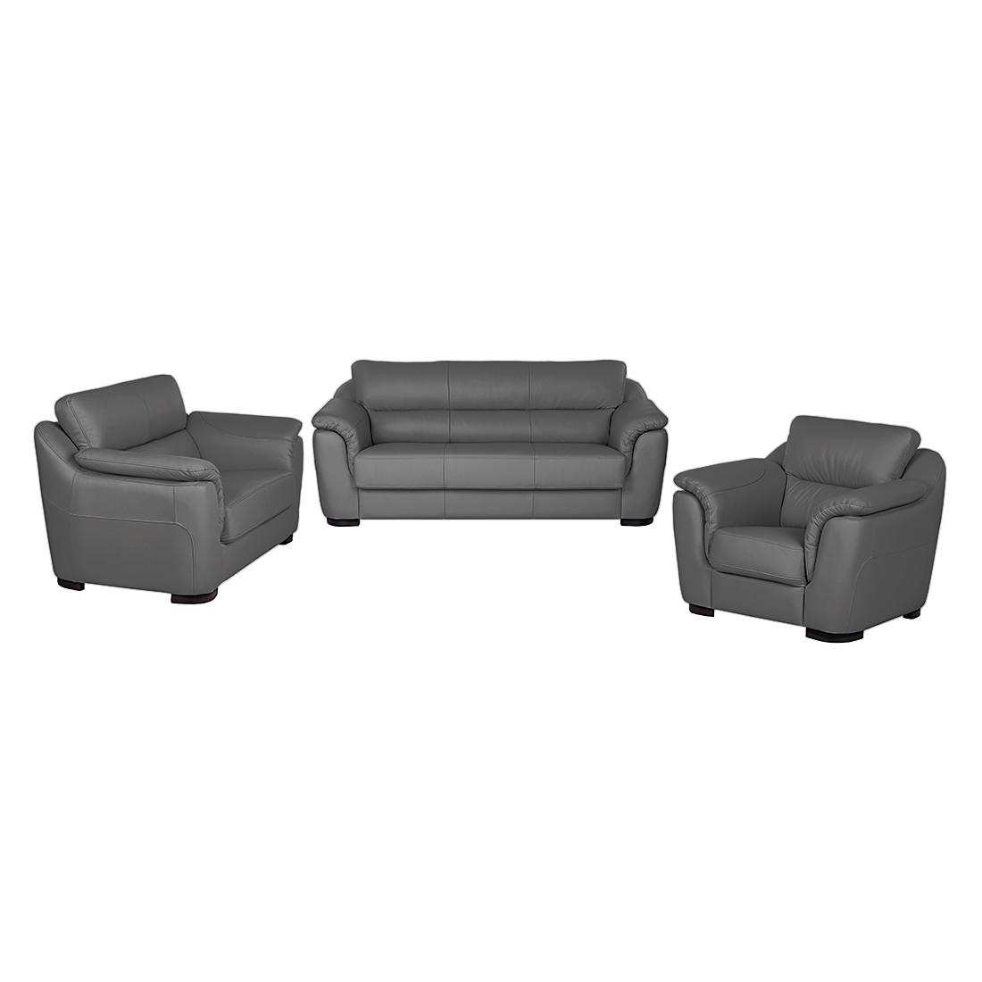 Bankenset Alzira (3-zitsbank, 2-zitsbank en fauteuil) - antracietkleurig leer, Nuovoform